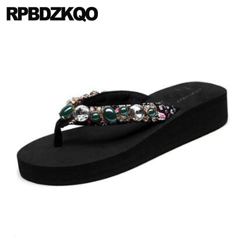 3cd195c53a4ec5 Rhinestone Flip Flop Big Size Crystal Diamond Sandals Wedge Floral Print  Women Platform Slippers Wide Fit Shoes Ladies Slides Moccasins For Men Shoe  Sale ...
