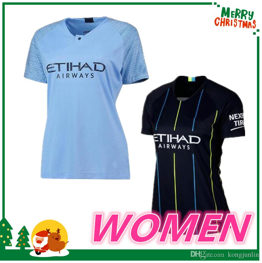 purchase cheap 8aa4a e820f woman 18 19 Manchester City KUN AGUERO jersey 2018 2019 KOMPANY SILVA  STERLING DE BRUYNE G JESUS GUNDOGAN city Soccer jersey football shirt
