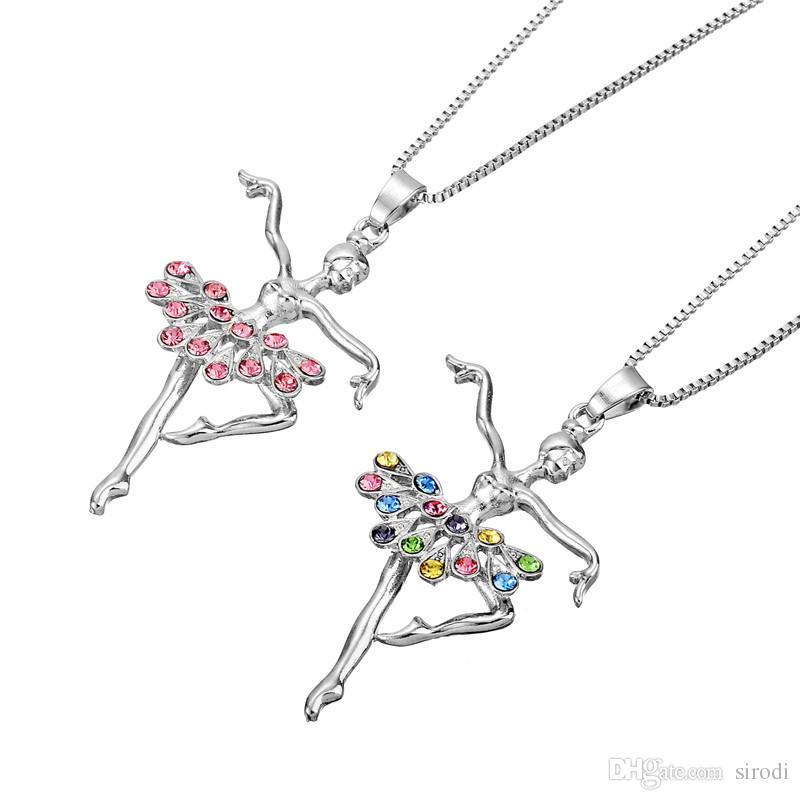 Moda Niñas Joyería Bailarina Collar Mujeres Diapositivas Dancer Ballet Recital Regalo Bailarina Colgante Collares Chica Adolescente Snap Joyería