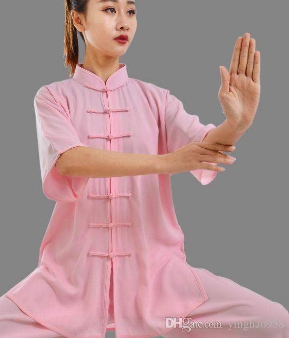 Тай-Чи одежда с коротким рукавом весна и лето хлопок плюс шелк утренние упражнения костюмы боевые искусства Тай-Чи упражнения одежда #3