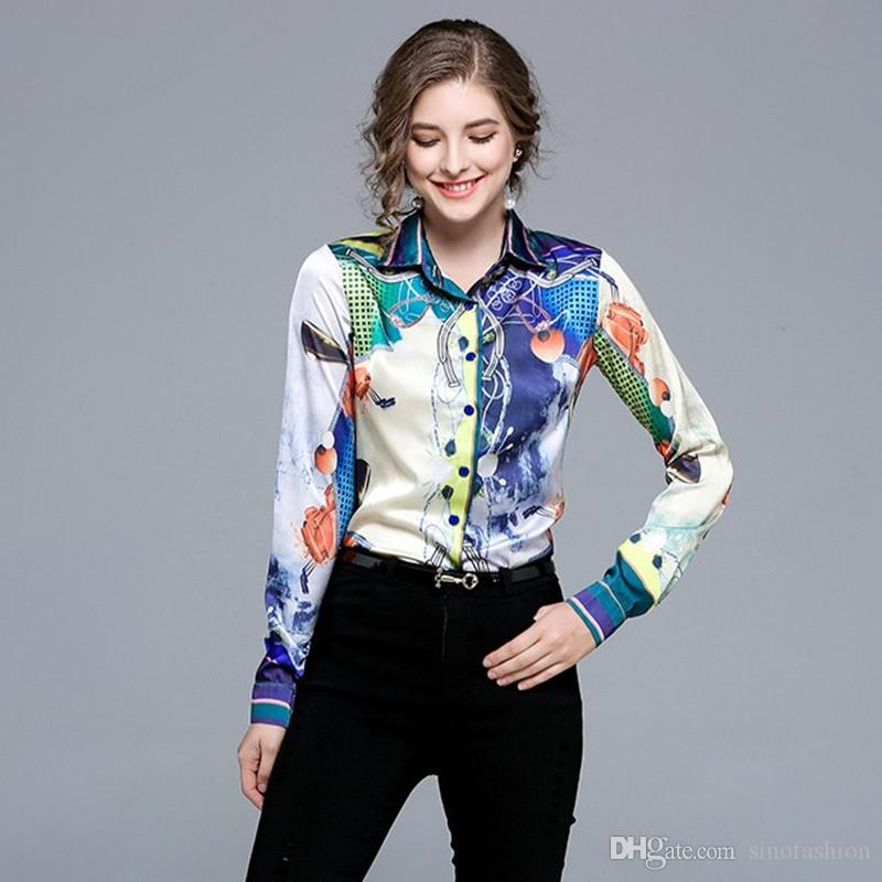30f12418f274 Women Print Shirt Spring Personality Trend Hit Color Blouse Tops ...