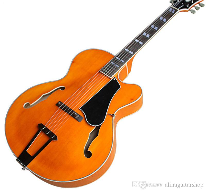 Classical Factory Orange Maple Body L5 Double F Hollow Electric