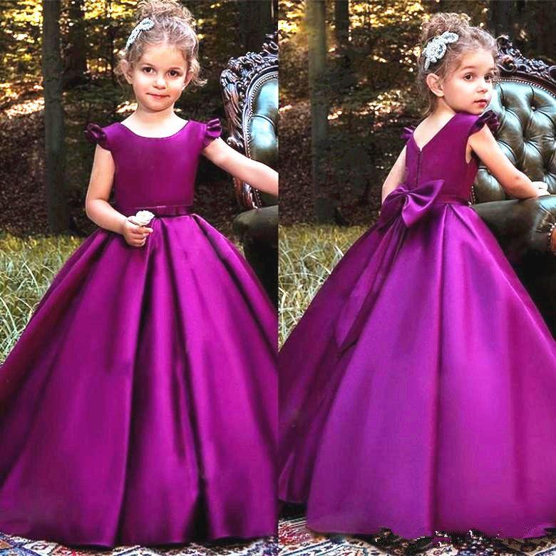 Ball Gown Purple Little Girls Pageant Dress Cap Sleeve Lovely Bow Back Floor Length Kids Prom Dresses Flower Girl Dress Custom Made