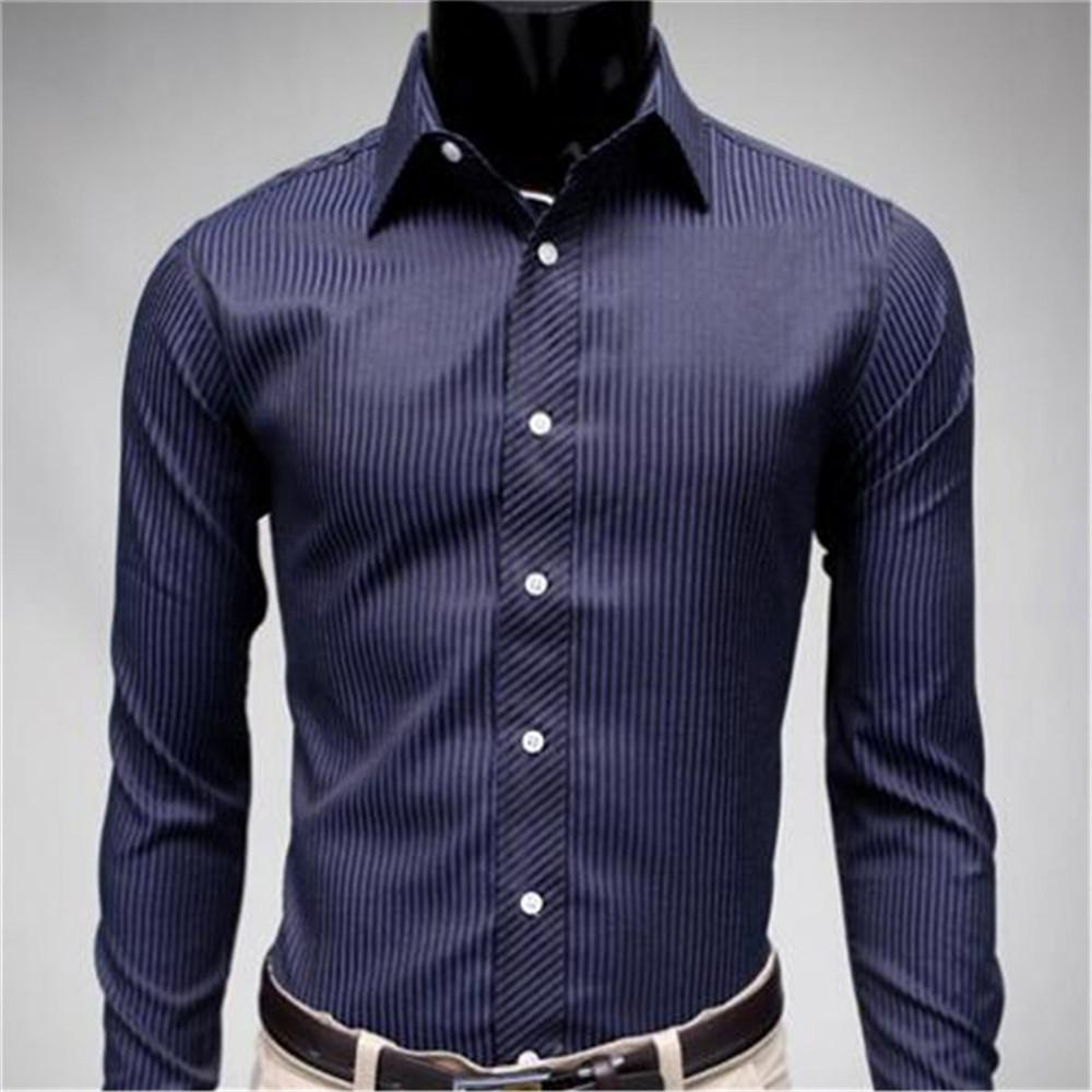 2019 Europe Style Male Dress Shirt Classic Dark Blue Striped Formal
