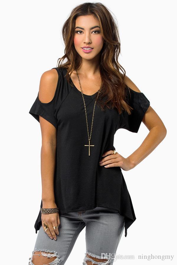 Wholesale-Fashion Women V-Neck T-Shirt Tops New Spring Womens Sexy Off Shoulder Loose Irregular Hem Ladies Tops Clothes T-shirt