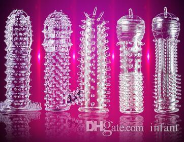 Transparent sexy spike set Delay penis sleeve Crystal set Teaser toys Adult sex products Silicone