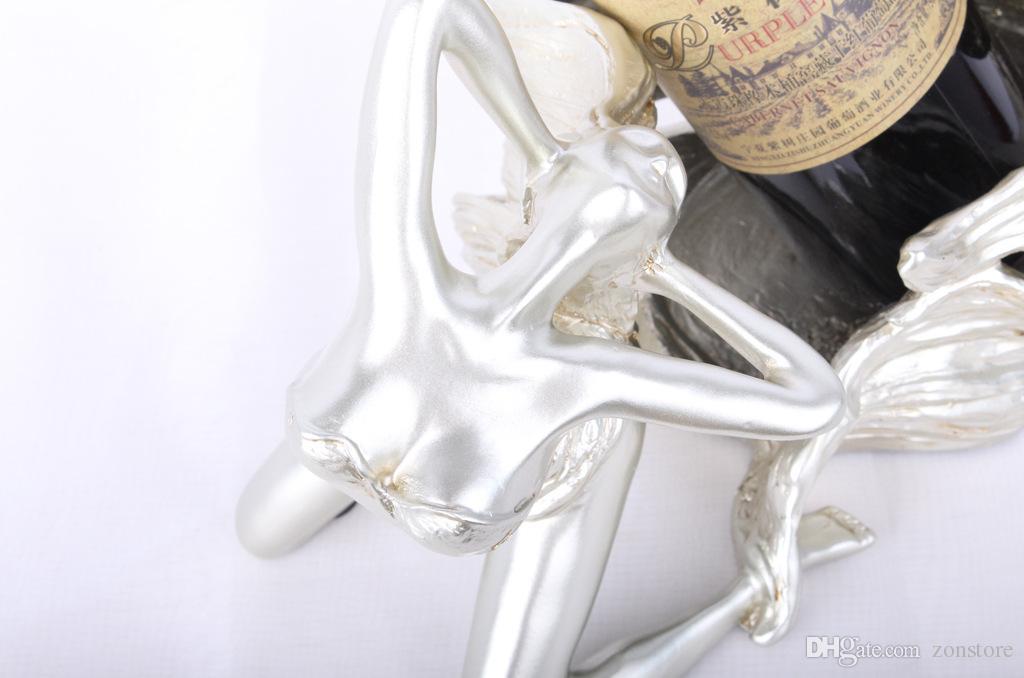 Angle Statue Porte-Vin Résine Sculpture Casier À Vin Porte-Vin Décoration De La Maison Intérieur Artisanat Maison Cuisine Bar Accessoires
