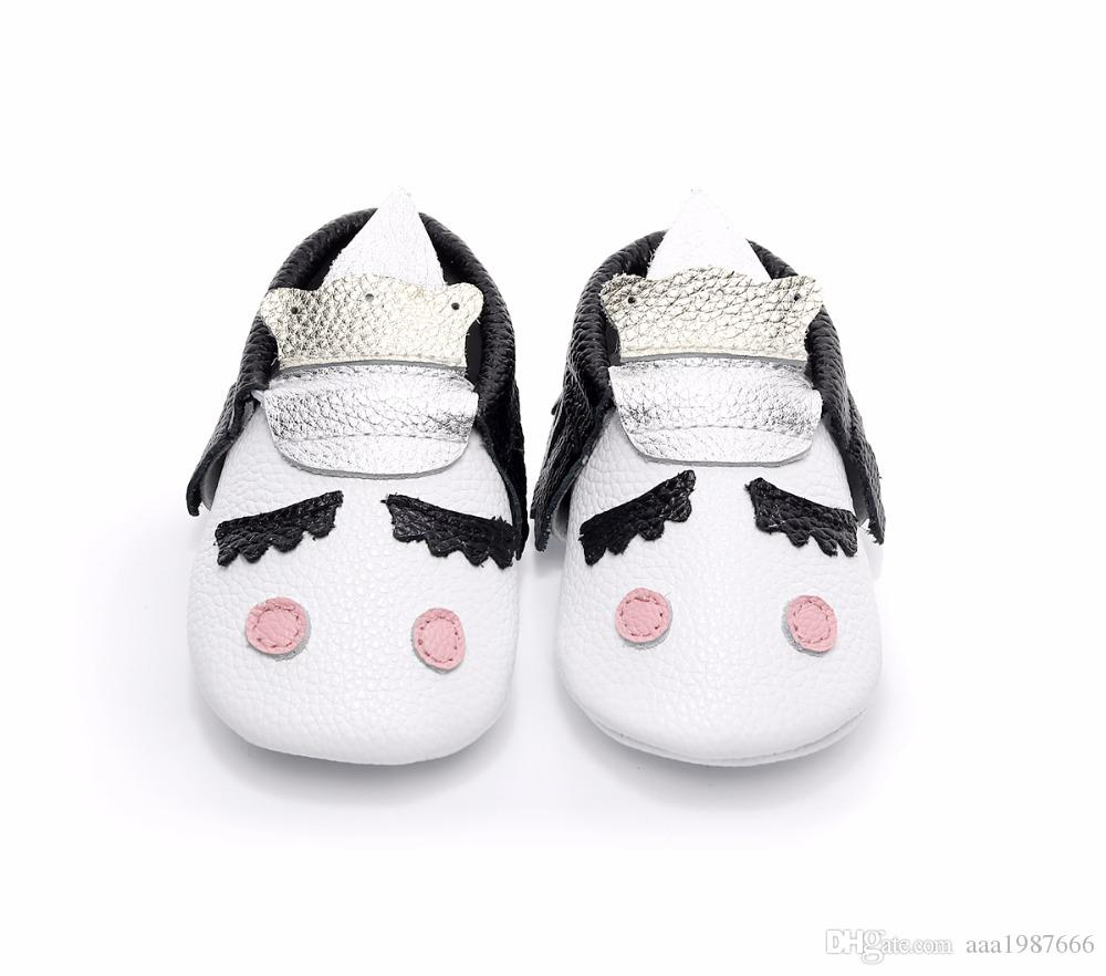 factory wholesale cutoms genuine leather cute baby boy and girls party moccasins Blush Unicorn Baby shoes hot sell soft sole
