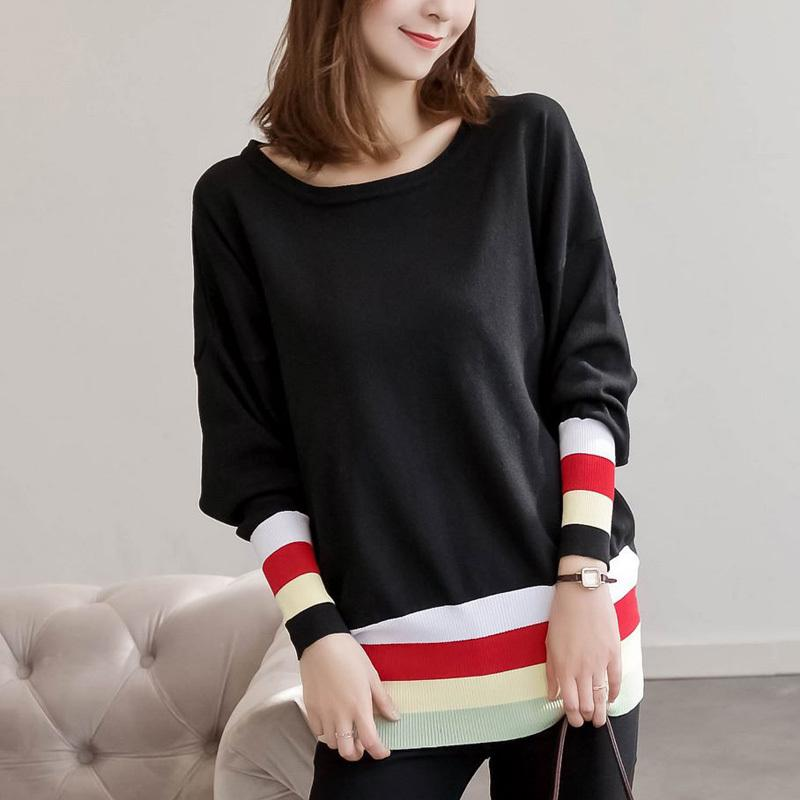 281d0053bec Plus Size Knitting Sweater 2018 Autumn Women Casual Loose XL-5XL Oversized Pullovers  Sweaters Striped Patchwork Knitted Tops Online with  60.59 Piece on ...