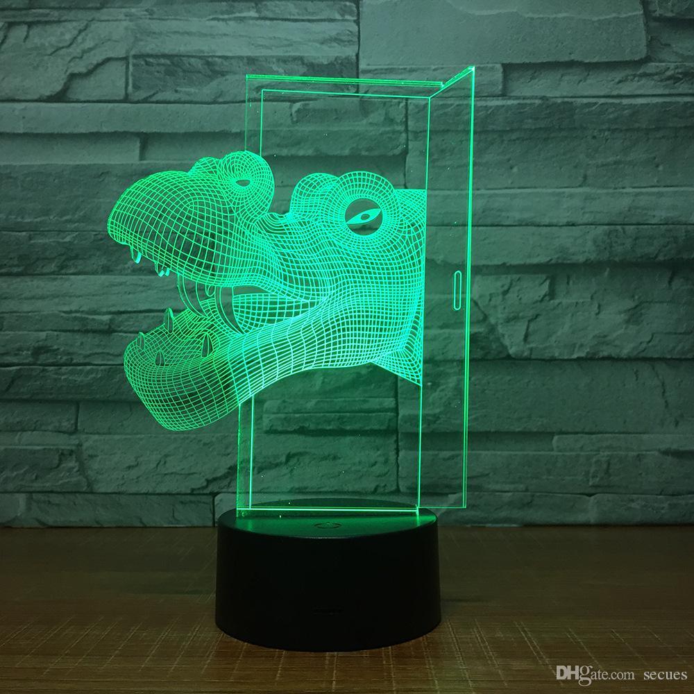 Dinosaur Head 3D Illusion light Lamp 3D Optical Lamp AA Battery USB Powered 7 RGB Light DC 5V Wholesale
