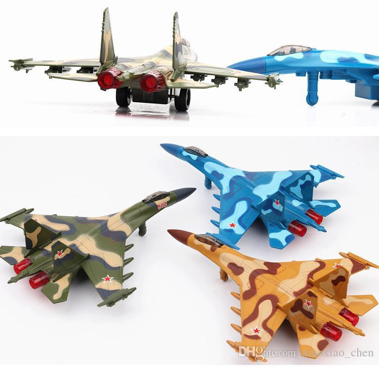 High simulation Su 35 fighter Pull back military aircraft model sound&light Educational toys 1:72 scale alloy fighter model multicolor