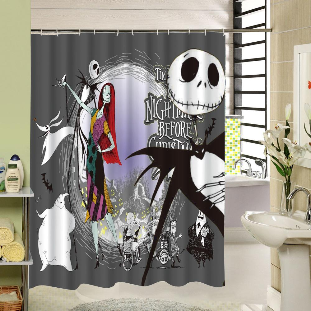 2018 waterproof halloween shower curtain nightmare before christmas ghost skeleton castle style 3d bath curtains bathroom accessories from caley