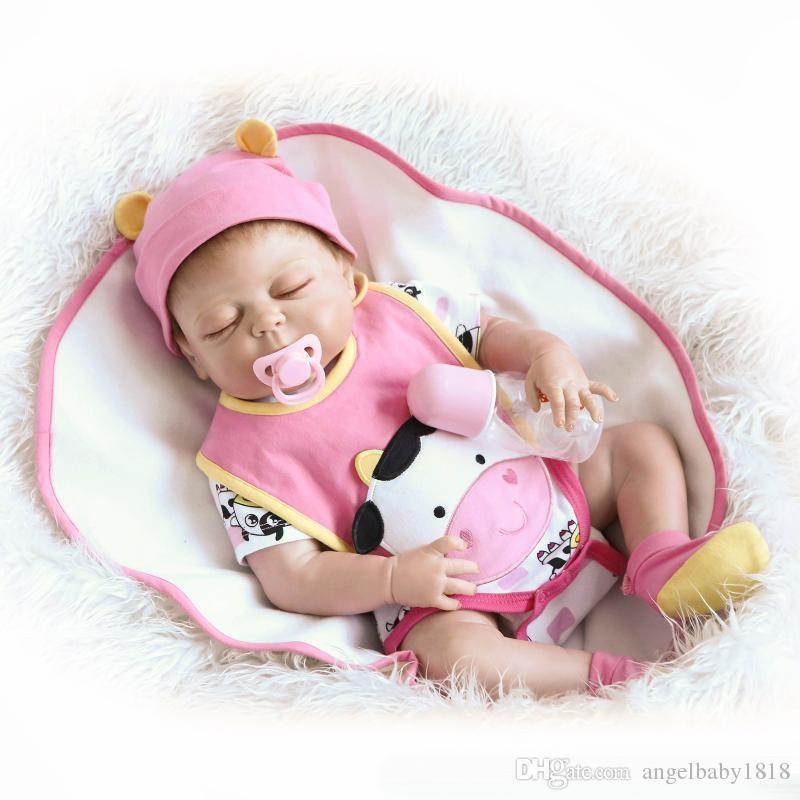 23 Inch/57cm Full silicone body reborn babies boy Sleeping dolls Girls Bath Lifelike Real Vinyl Bebe Brinquedos Reborn Bonecas