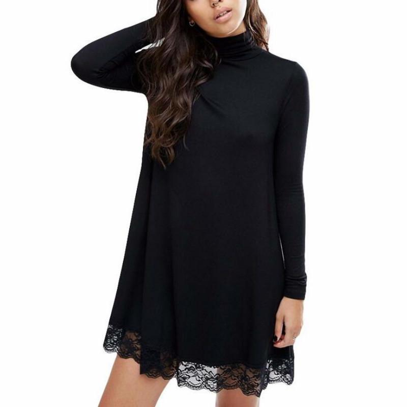 339d7d8e770 2018 Autumn Winter Women Sexy Black Crochet Lace Long Sleeve Loose Shift  Dress Fall Patchwork Dresses Club Dress Of Woman White Summer Lace Dress  From ...