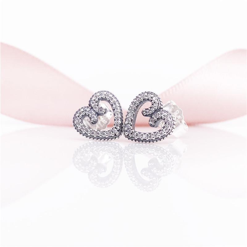 Kalp Swirls Saplama Küpe Otantik S925 Gümüş Temizle CZ Güzel Takı Küpe 297099CZ Küpe