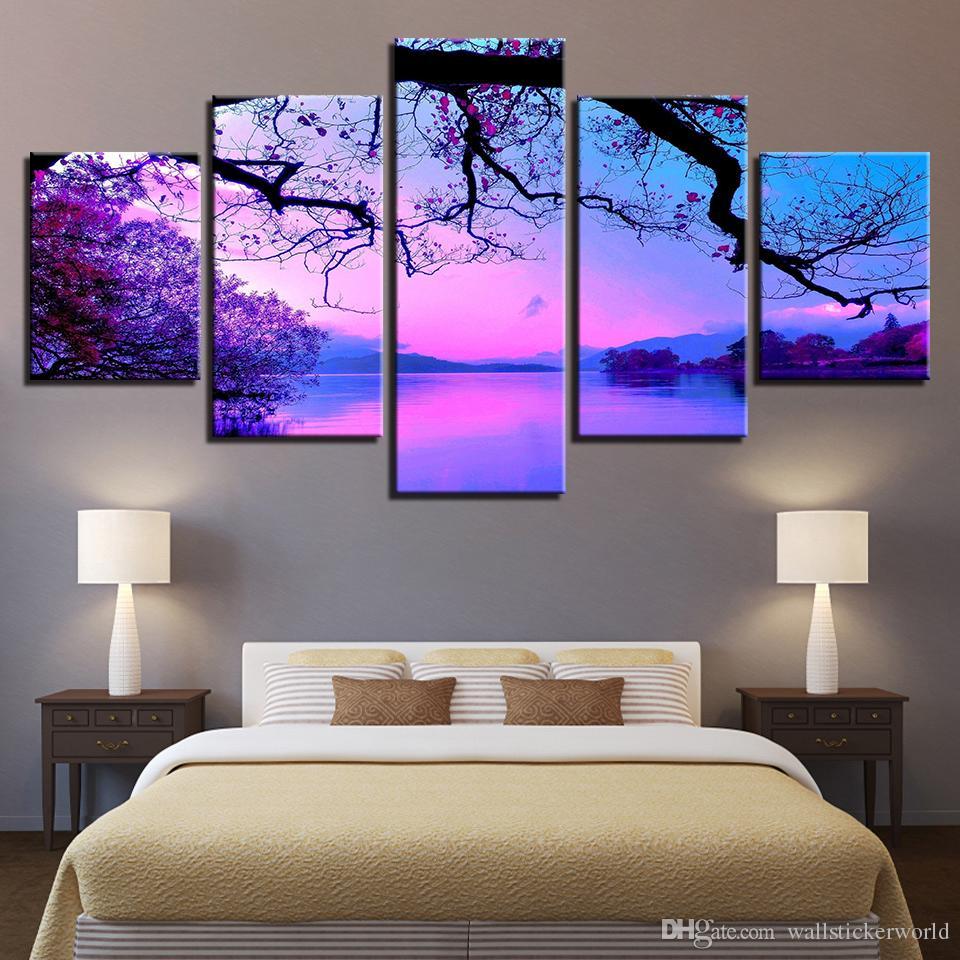 Großhandel Leinwand Wandkunst Gemälde Wohnzimmer Wohnkultur Rahmen 5 Stück  Lila Sonnenuntergang Bäume See Landschaft Bilder Hd Drucke Poster Von ...