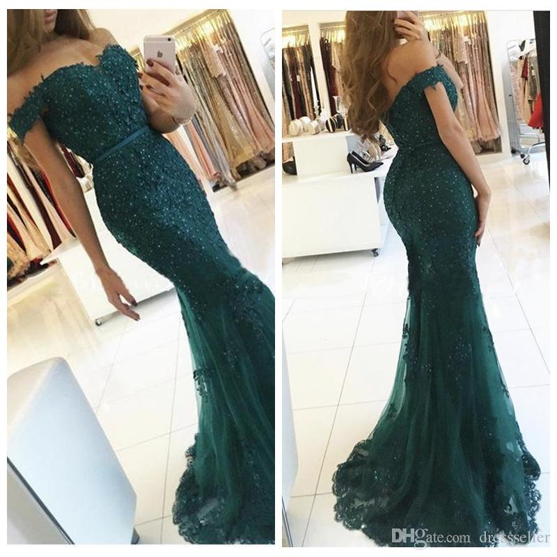 Hunter Green 2018 Slim Arabic Prom Dresses Mermaid Lace Appliques ...