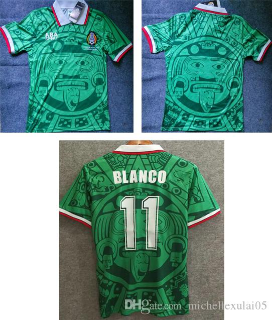 new arrival 9920d 193ac 1998 Mexico home green retro soccer shirts BLANCO vintage football jersey  adult s a thai quality sport wear old season outdoor soccer top