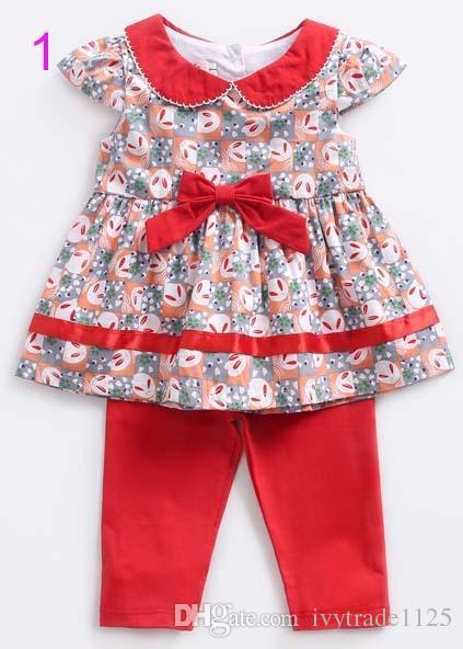 kids clothing girl elegant Pet Pan Collar Short Sleeve Cup Cake or Polka Dots Dress + Pants Girl kids summer sets free ship