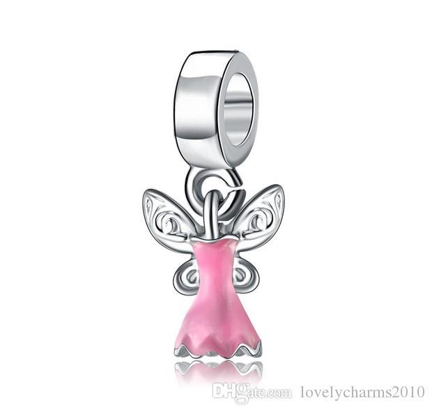 Adatto a Pandora Braccialetti Flower Fairy Pendant Silver Charms Charms Bead Dangle Branelli di fascino all'ingrosso fai da te gioielli in sterlina europea gioielli