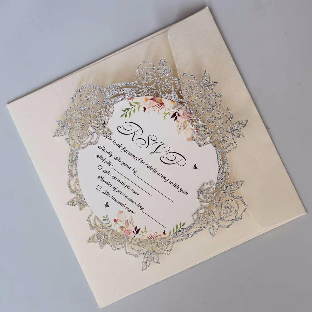 Luxury Laser Cut Wedding Invitations Elegant Rose Invitation Cards With Unique Invite Set Of Christmas Free Online From: Unique Wedding Greeting Cards At Reisefeber.org