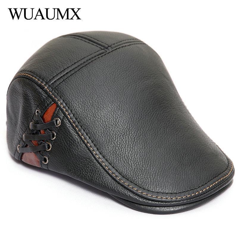 Acquista Wuaumx Luxury Brand 100% Genuine Berretti In Pelle Di Mucca Uomo  Duckbill Hat Autunno Inverno Berretti Da Uomo Papà Cappelli Cowskin Newsboy  Caps A ... 2e5fc90660ce