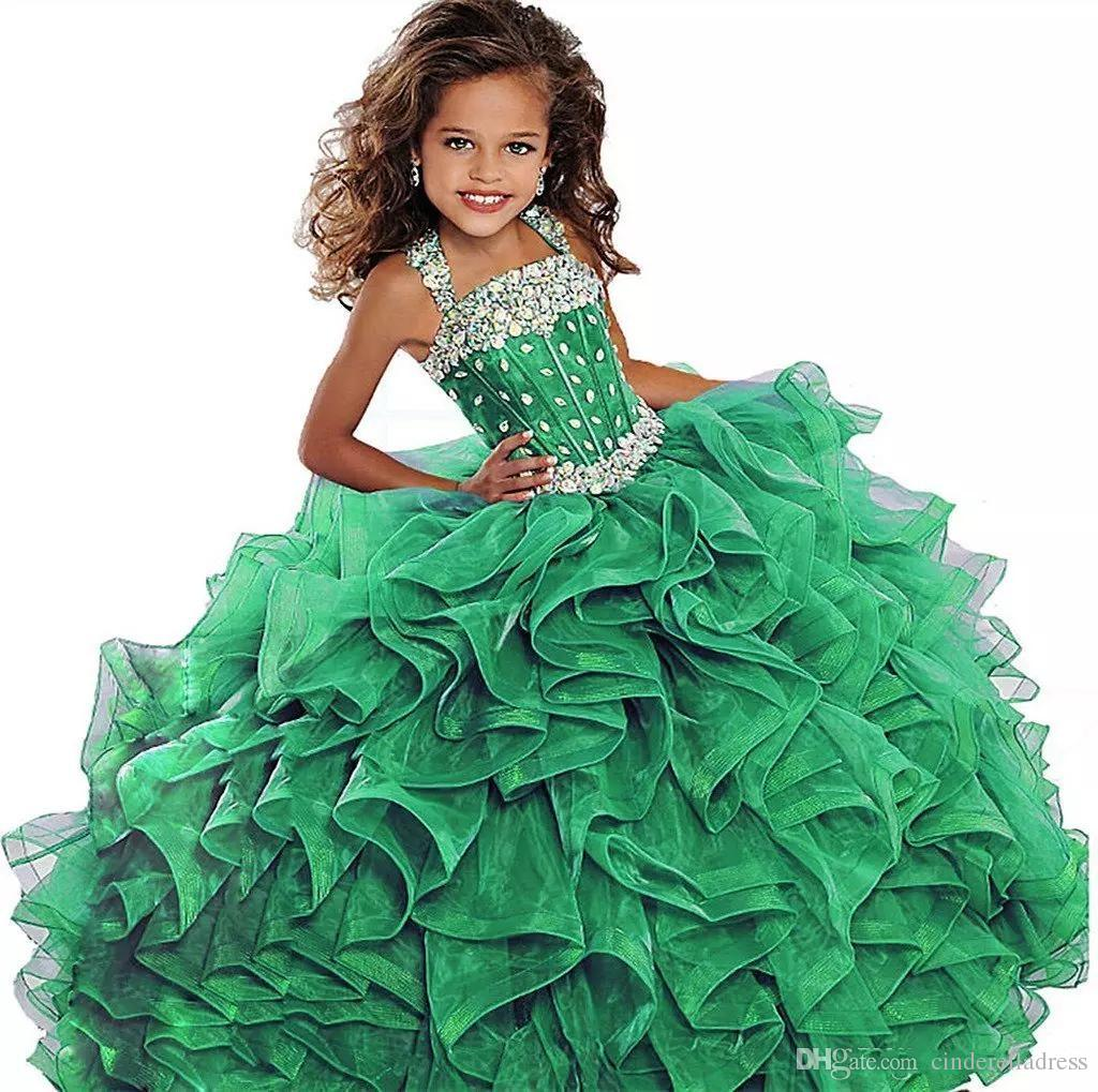 2018 Emerald Green Girls Pageant Dress Ball Gown Long Turquoise Organza Crystals Ruffled Flower Girls Birthday Party Gown For Junior BA7922