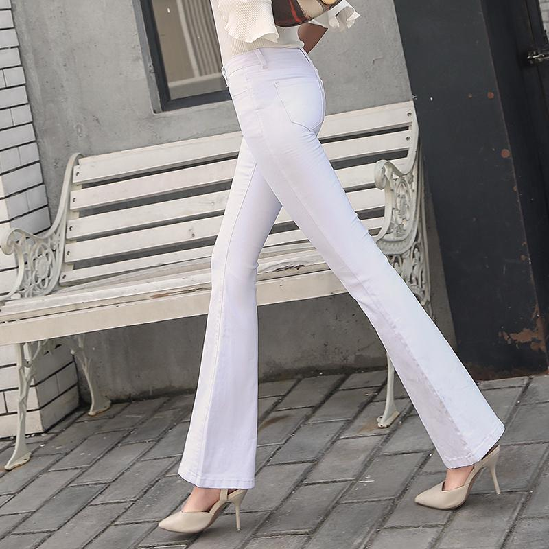 821098c7518 2019 2018 New Flare Jeans Pants Bell Bottom Trousers Female Trousers Spring  And Autumn White High Waist Slim Hip Plus Size 9099 From Viviant