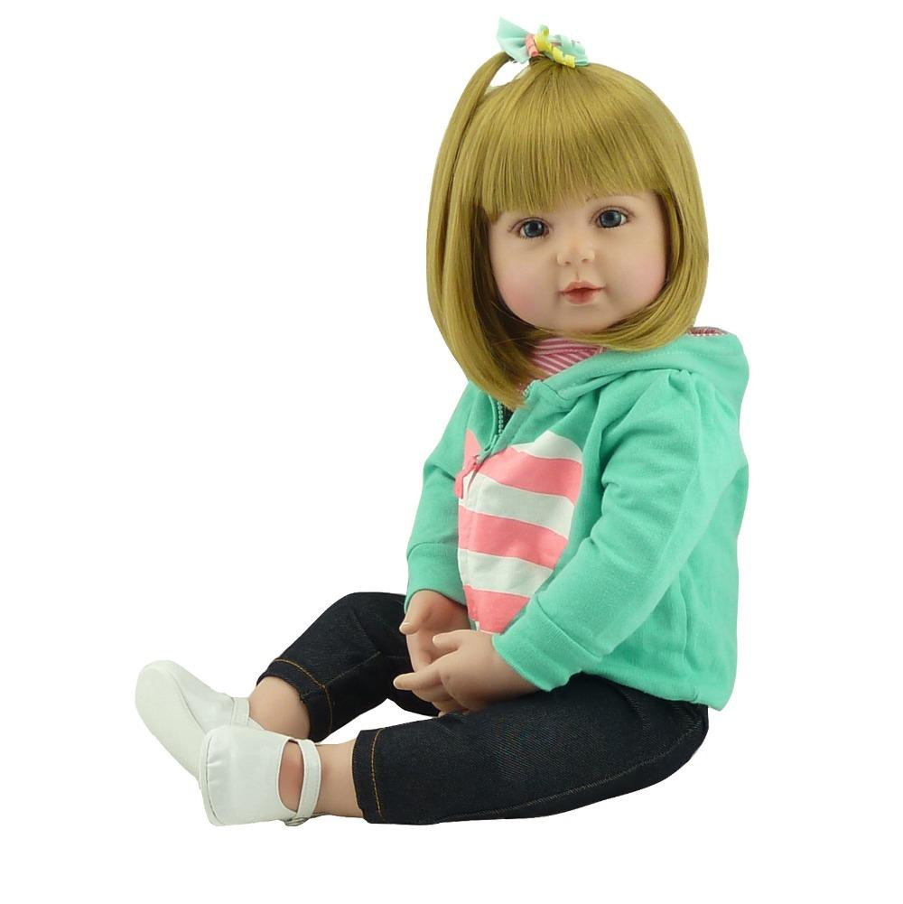 "Wholesale- Girl baby s 22"" handmade silicone vinyl reborn babies dolls for children gift bebe reborn silicone dolls real born"