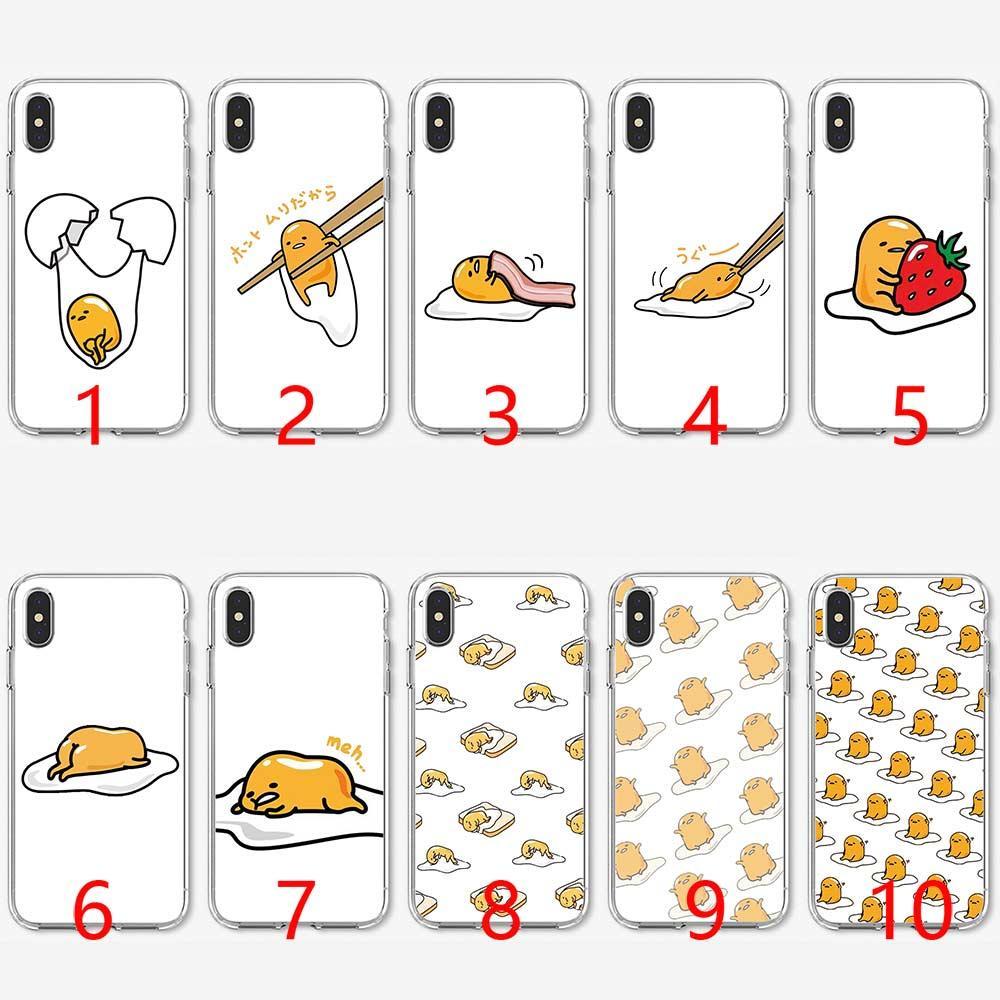 brand new cef77 f01bd Cute Funny Gudetama Cartoon Egg Soft Silicone TPU Phone Case for iPhone 5  5S SE 6 6S 7 8 Plus X XR XS Max Cover