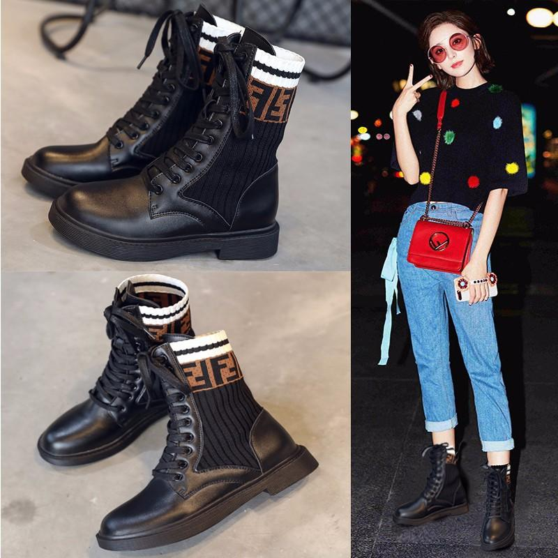 c5f90926d43b Star Style Lace Up Martin Boots Woman Knitted Sock Botas Winter Fashion Mid  Calf Boots Creepers Platform Shoes Woman Booties Black Boots For Women  Platform ...