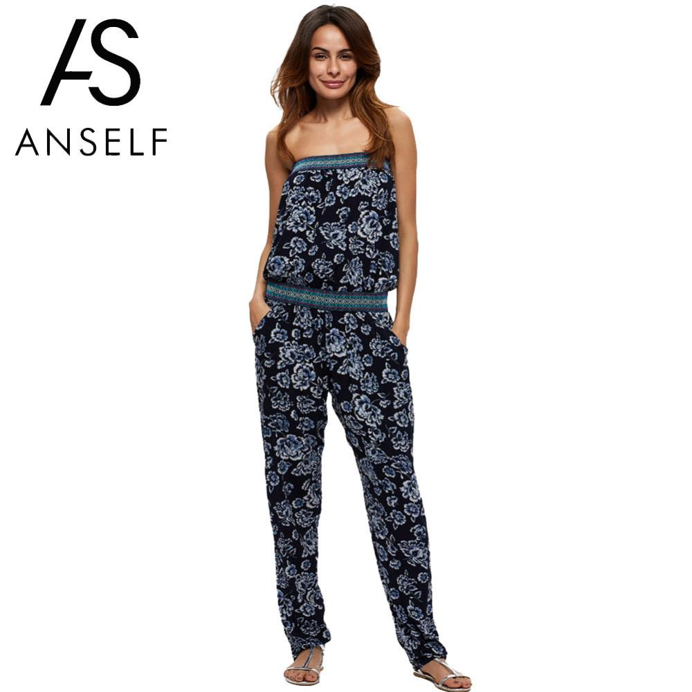 ff1aa11da5 2018 Anself Summer Off Shoulder Women Jumpsuit Elegant Floral Print Chiffon Rompers  Womens Jumpsuit Sexy Beach Long Party Playsuit From Fangfen