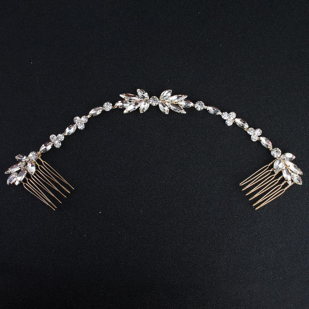 Wedding Scattered Rhinestone Headband Bridal Chain Bride Comb Bridesmaid Headpiece Golden Hair Jewelry Accessories Boho Chic S918