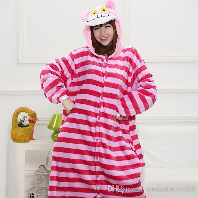 6f6bb2792e5f Cheshire Cat Animal Pajamas Unisex Adult Pajamas Flannel Pajamas Winter  Garment Cute Cartoon Animal Onesies Pyjamas Jumpsuits Mens Costume Cat  Halloween ...