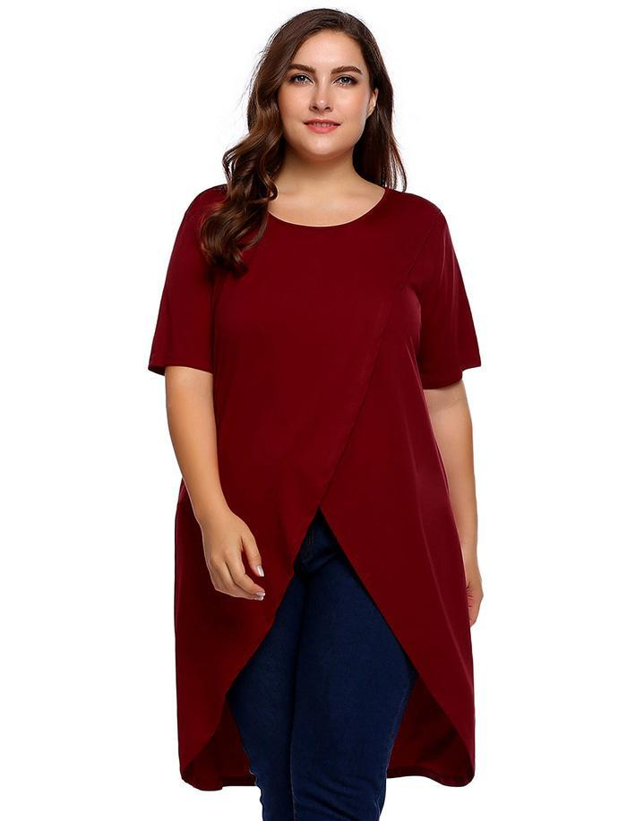 a67622b7019 Plus Size Women Long T Shirts Tops M 3XL Spring Summer O Neck Short Sleeve  Solid Loose Hem Tshirt Pullover Oversized Be Awesome T Shirt Print On Tee  Shirt ...