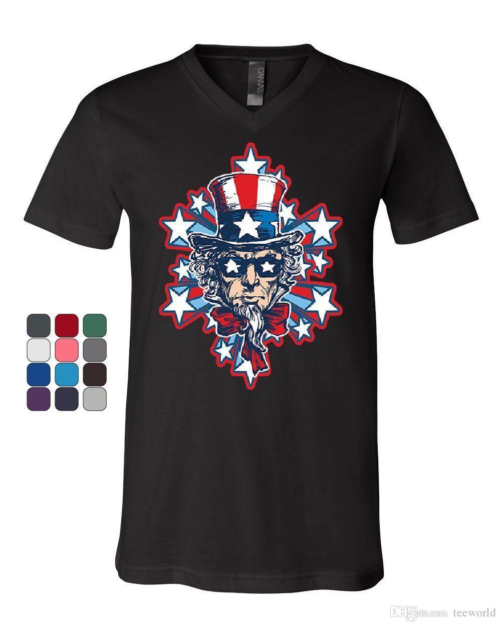 279fcd238 Uncle Sam Stars And Stripes V Neck T Shirt America 4Th Of July Patriot Tee  Tees Shirt Men Boy Personality White Short Sleeve Custom XXXL Par Retro T  Shirts ...