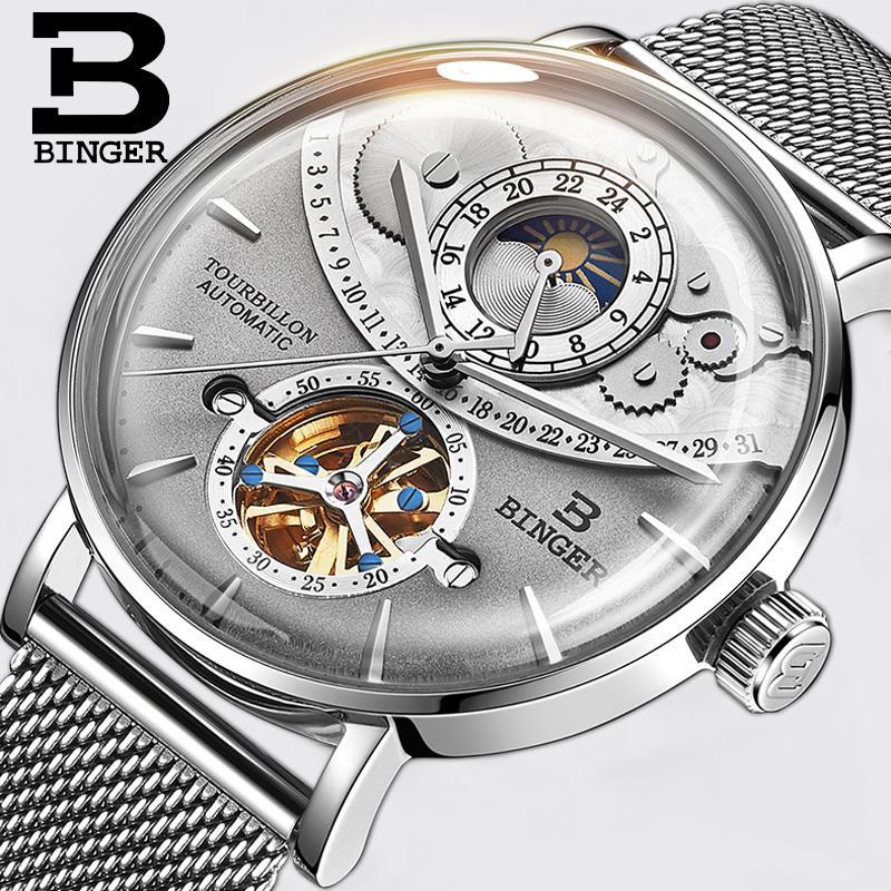 00b2082b6e4 Compre Suíça Assista Homens Binger Automático Mecânico Homens Relógios De  Luxo Da Marca Safira Relogio Masculino 50 M Relógio À Prova D  água De  Melontwo