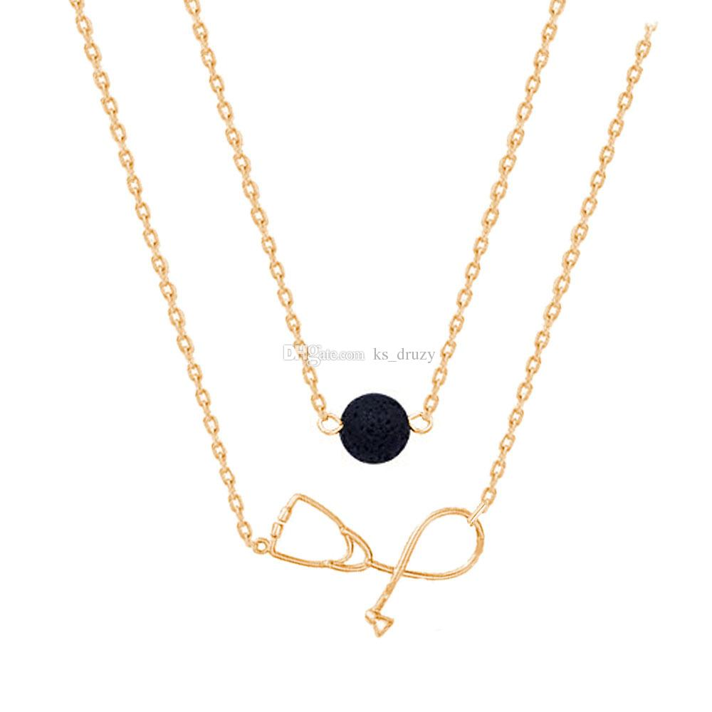 Double Layers Black Lava Stone Stethoscope Pendant Necklace DIY Essential Oil Diffuser Necklace 18K Gold/Silver Metal