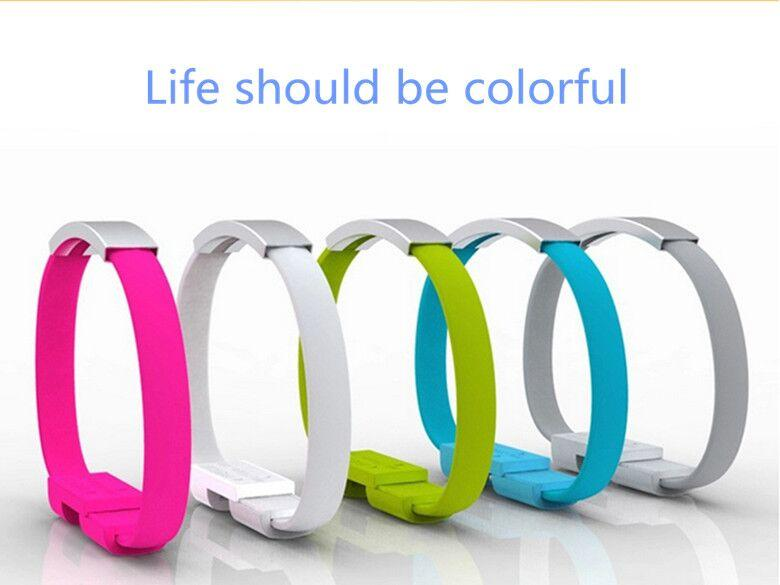 Colorful data line Portable wrist Bracelet Magnet sync charging Micro USB Cable power bank chargers USB cables for Android phones universal