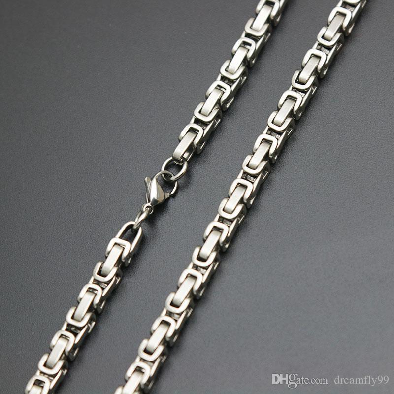 Mens Cadena 4mm 5mm tono de plata 316 cadena de acero inoxidable Collar bizantino linkbox