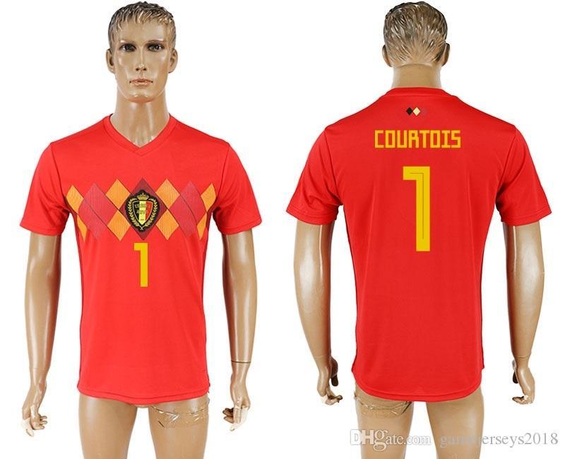 Camiseta De Fútbol Top Thai Quality Tailandia World Cup Bélgica Courtois 1  Camisetas Retro Uniformes Kit Jerseys 2018 Copa Del Mundo Jersey Barato De  ... d0fe3278a4894