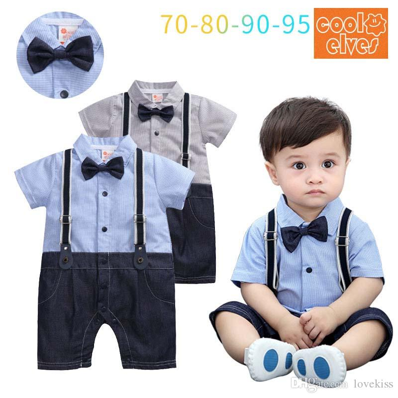 e0fddb265c220 2019 Summer Gentleman Braces Short Sleeve Boy Rompers Cotton Newborn Romper  Infant Jumpsuit Toddler One Piece Clothing Baby Boy Clothes A1862 From  Lovekiss, ...