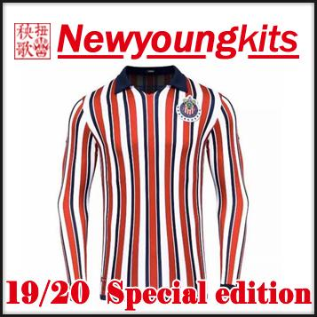 best website a782b e0f7e 2018 19 chivas soccer Jersey 2019 2020 Guadalajara Special edition stripe  long sleeve Football uniforms PULIDO LOPEZ BRIZUELA soccer shirt