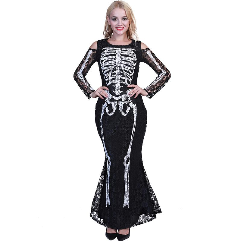 Christmas Halloween Party Ghosts Skeleton Cosplay Costume Skull Clothing  Women Off Shoulder Lace Slim Black Long Dress Carnival Holiday