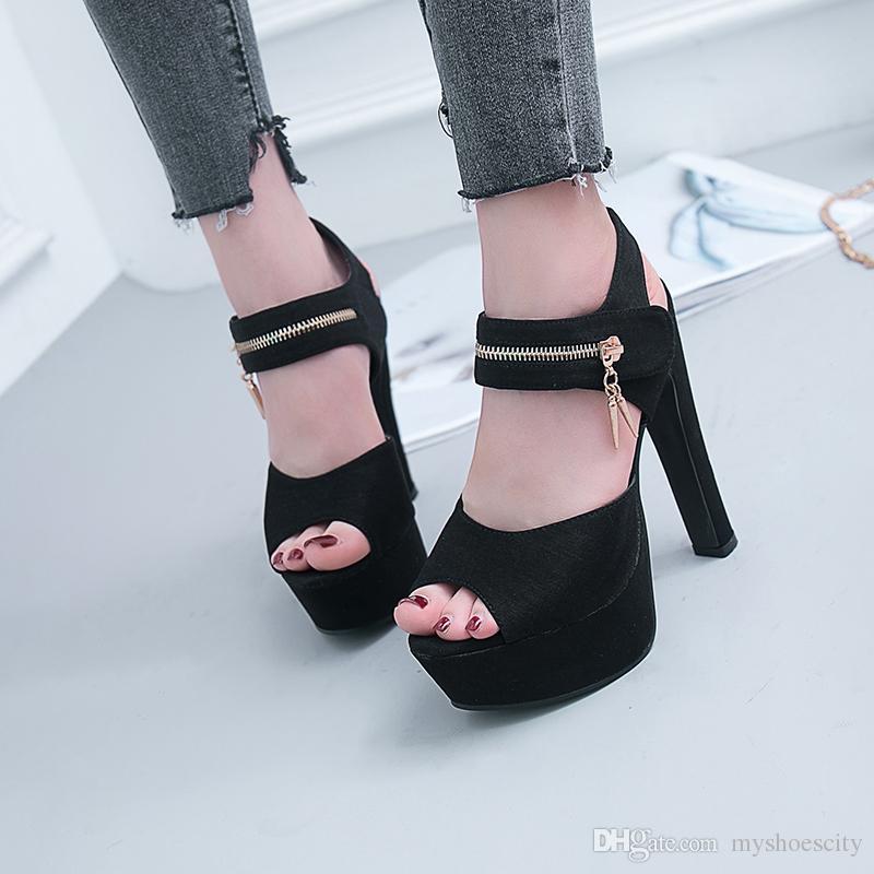 elegant black T strappy platform pumps designer women high heel shoes size 34 to 39