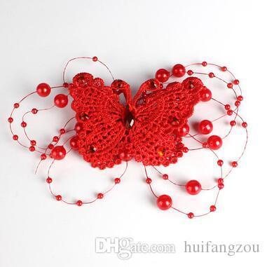 Wedding Accessories Butterfly Pattern Faux Pearl Design Bridal Hair Sticks Hot Sale Rhinestone Bridal Hair Clips