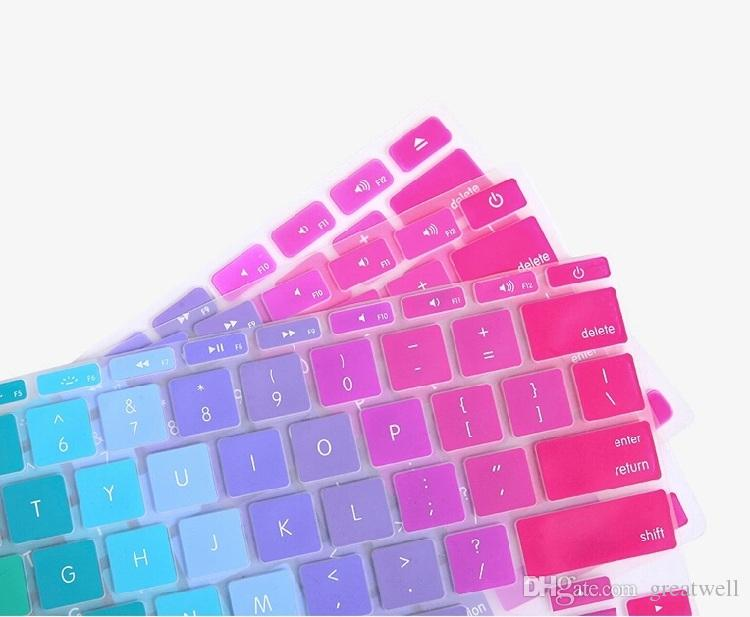 US Ver Soft Silicone Rainbow keyboard Case Protector Cover Skin For MacBook Pro Air Retina 11 13 15 inch Waterproof Dustproof retail box