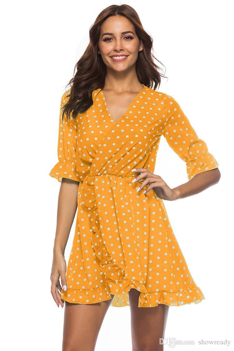 30524561be7e8 New Fashion Sexy Dress for Women Casual V-neck Ruffled Dot Print ...