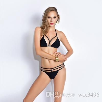 1c138cac63 2019 Bikini Set Halter High Neck Chest Back Bottom Bandage Swimsuit Sexy  Solid Black Push Up Padding Swimwear Mesh Bathing Suit For Women From  Wtx3496, ...