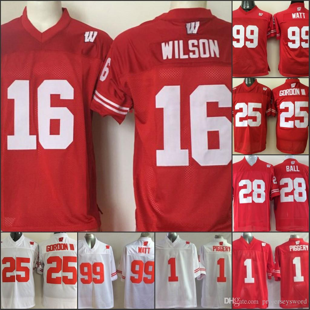more photos cfcf6 be5d8 Mens Wisconsin Badgers College Jersey 1 PIGGERY 16 Russell Wilson 25 Melvin  Gordon III 99 J. J. Watt Jersey Home Away Red white